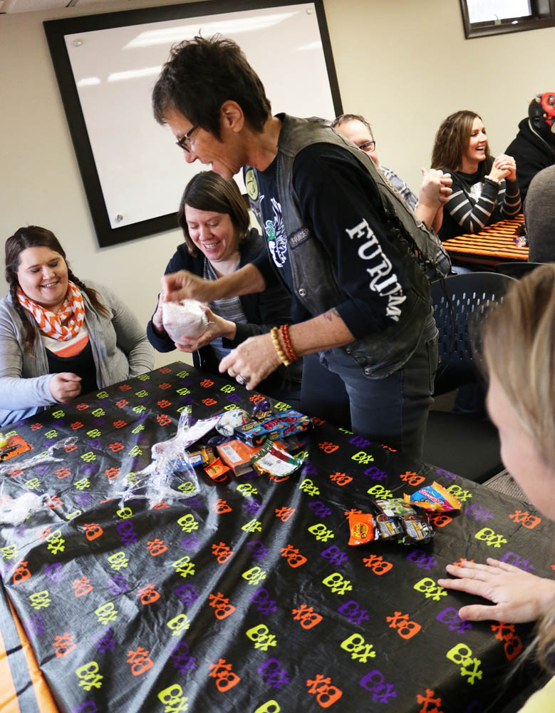 Caryl, building her mountain of candy!
