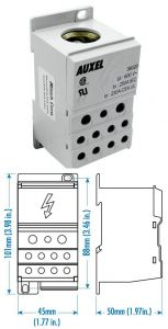 38020 Power Distribution Block, One Phase, 230 Amp,Singl