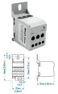 DB16 Power Dist Blocks, One Phase, 80A,1 Pole, 8-4AWG,