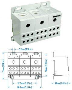 38073 Power Distribution Block, Three Phase, 175 Amp,3 P