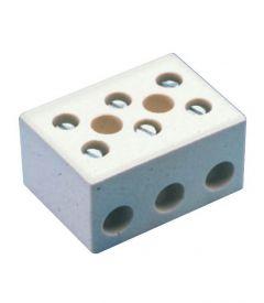 CB16/3H Terminal Block, Ceramic, 3 Pole, W/ Mounting Holes
