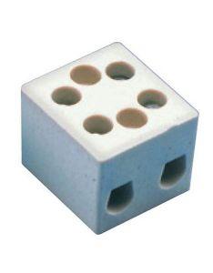 CB16/2H Terminal Block, Ceramic, 2 Pole, W/ Mounting Holes