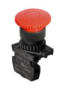S2ER-E3RA E-Stop, Ø22mm, Ø40mm Head, Red,Push-Lock, Turn-Res