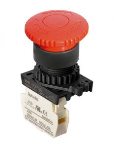 S2ER-E3RB E-Stop, Ø22mm, Ø40mm Head, Red,Push-Lock, Turn-Res