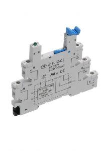 41F-1Z-C2-1 6mm Relay Socket, DIN Mount, 1 Pole, 12-24VAC/DC,
