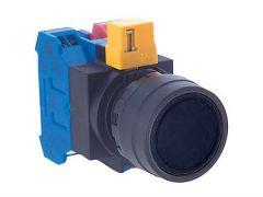 HW1B-M1F01-B Pushbutton, Ø22mm, Plastic, Flush, Black, Momentar
