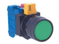 HW1B-M1F10-G Pushbutton, Ø22mm, Plastic, Flush, Green, Momentar