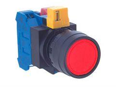 HW1B-M1F01-R Pushbutton, Ø22mm, Plastic, Flush, Red, Momentary,