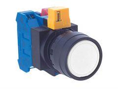 HW1B-M1F10-W Pushbutton, Ø22mm, Plastic, Flush, White, Momentar