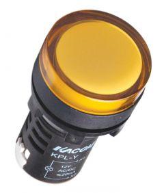 KPL-Y-24V AC/DC Pilot Light, Ø22mm, Round, Yellow LED, 24VAC/DC,IP