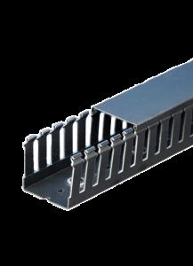 "T1-2222K Wire Duct, Open Slot, Black, 2.25 x 2.25"" (W x H)"