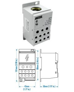 Power Distribution Block, One Phase, 400 Amp