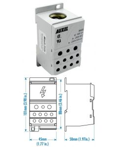 Power Distribution Block, One Phase, 230 Amp