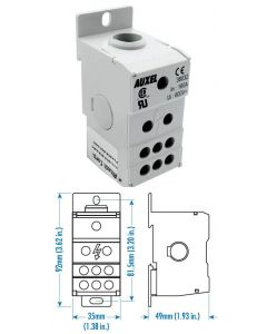 Power Distribution Block, One Phase, 160 Amp