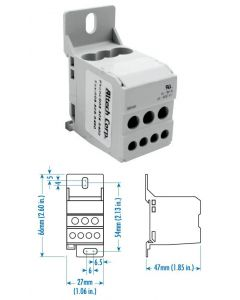 Power Distribution Block, One Phase, 80 Amp