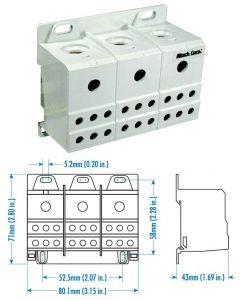 Power Distribution Block, Three Phase, 175 Amp