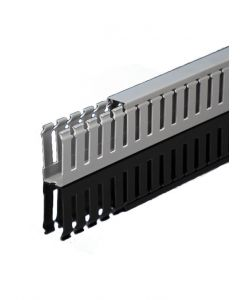 """Wire Duct, Gray, 1""""W x 1.5""""H, Open Slot"""