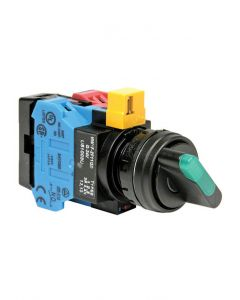 Selector Switch, 22mm, 2-Position, 1NO/1NC, Green