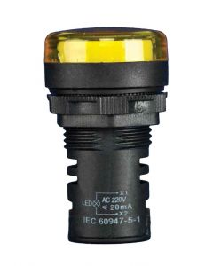 Indicator Light, Curved Lens, Yellow