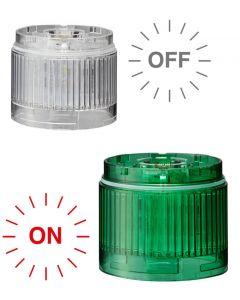 LED Unit, Green/Clear Lens, LR6, 24VDC, 60mm