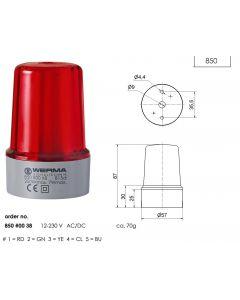 Perm. Beacon 12-240VAC/DC, IP33, 57mm